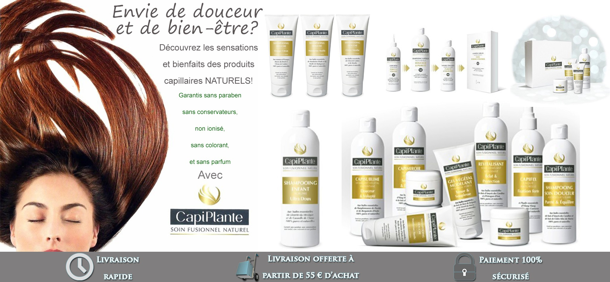 Beauty respect, CapiPlante products with essential oils 100 % natural
